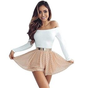 Sexy Off The Shoulder Rib Knitted T-Shirt for Women