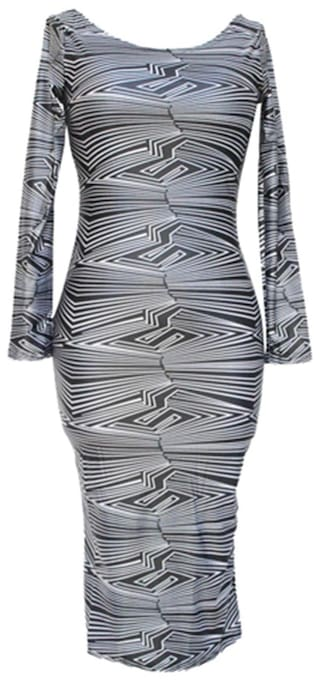 Sexy Scoop Neck Long Sleeve Bodycon Backless Women\'s Dress