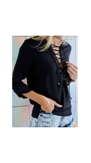 Women Bandage Chiffon Loose Tops Shirts Long Sleeve Sexy RwHdgxq5R