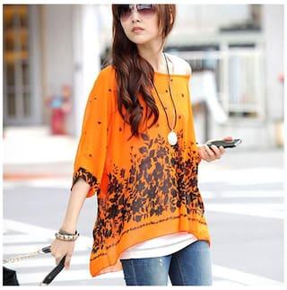 Sexy Womens Batwing Sleeve Chiffon Shirt Bohemian Oversized Blouse XL