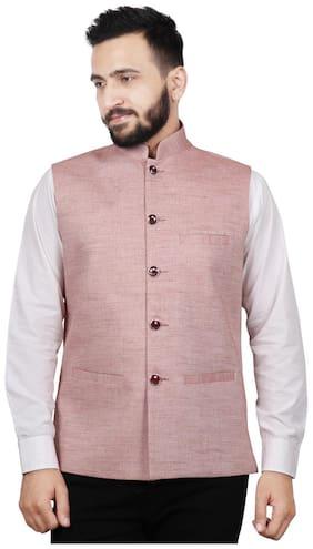 SG LEMAN Men Maroon Solid Regular Fit Ethnic Jacket