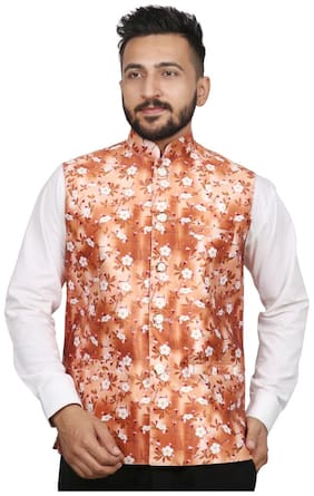 SG LEMAN Men Orange Printed Regular Fit Ethnic Jacket