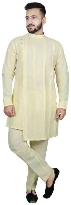 SG LEMAN Yellow Solid Kurta and Trousers