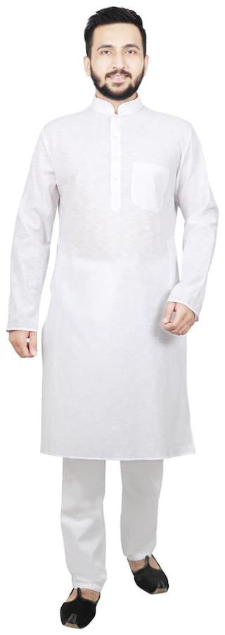SG LEMAN Dupion Solid Men White Kurta Pyjama