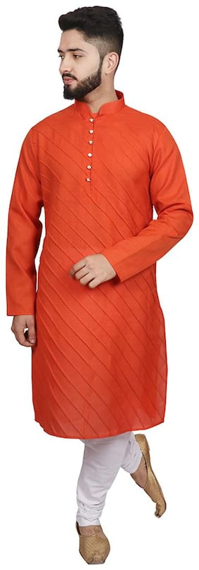 SG LEMAN Kurta pyjama set for Men - Orange