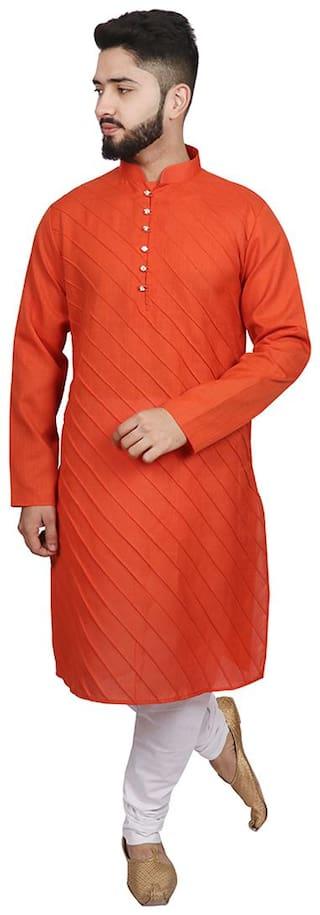 SG LEMAN Kurta pyjama set for Men - Orange