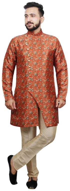 SG LEMAN Orange Floral print Kurta and Trousers