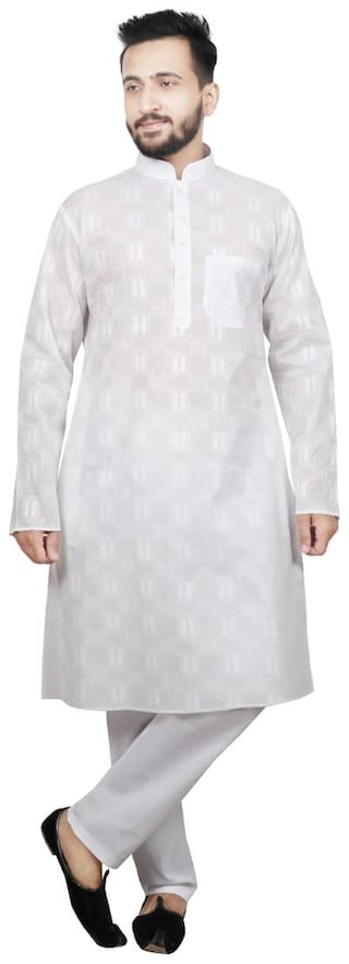 Sg Leman Kurta Pyjama For Men - White