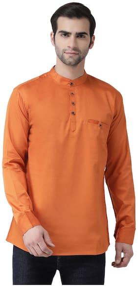 SG LEMAN Men Orange Regular Fit Kurta