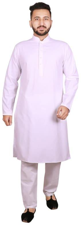 SG LEMAN White Solid Kurta and Pyjamas