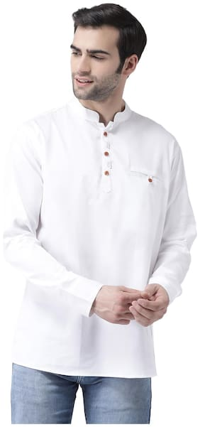 SG LEMAN Men White Regular Fit Kurta