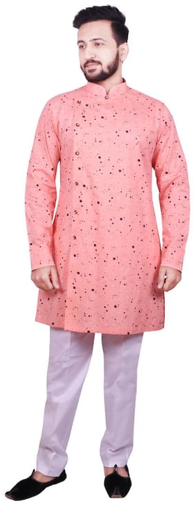 SG LEMAN Pink Polka dolts Kurta and Trousers with