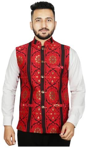 SG LEMAN Men Red Printed Regular Fit Ethnic Jacket