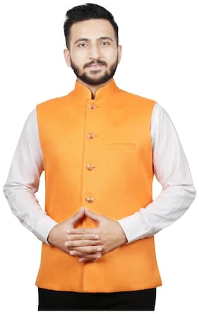 SG LEMAN Men Orange Solid Regular Fit Ethnic Jacket