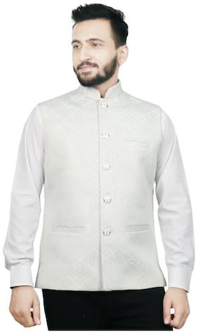 SG LEMAN Men White Printed Regular Fit Ethnic Jacket