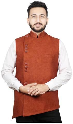 SG LEMAN Men Orange Solid Regular Fit Ethnic Jacket
