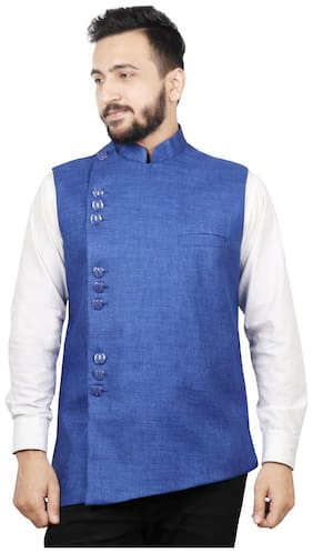 SG LEMAN Men Blue Solid Regular Fit Ethnic Jacket