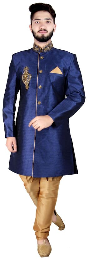 SG LEMAN Blended Medium Sherwani - Blue