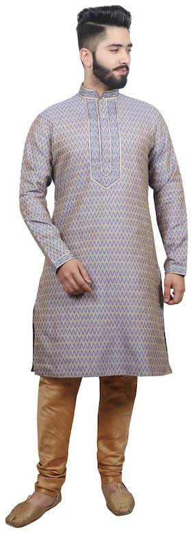 SG LEMAN Pintex Kurta with pyjamas For Men - Blue