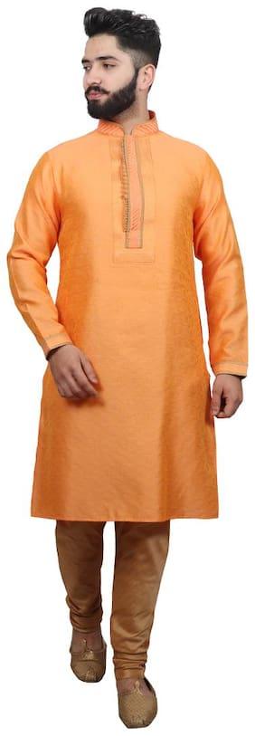 SG LEMAN Pintex kurta pyjama For Men - Orange