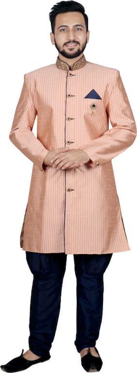 SG LEMAN Blended Medium Sherwani - Pink & Blue