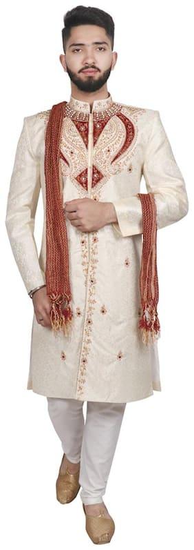 SG LEMAN Blended Medium Sherwani - White