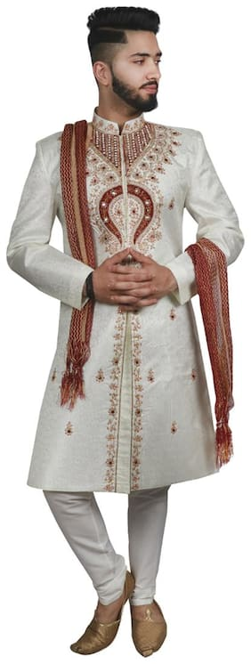 SG LEMAN Blended Medium Sherwani - Cream