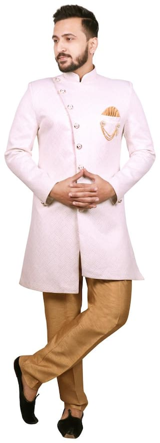 SG RAJASAHAB Cotton Medium Sherwani - Cream