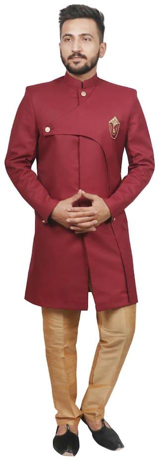 SG RAJASAHAB Cotton Medium Sherwani - Maroon