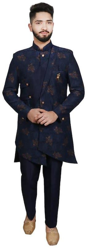 SG RAJASAHAB Blended Medium Sherwani - Blue