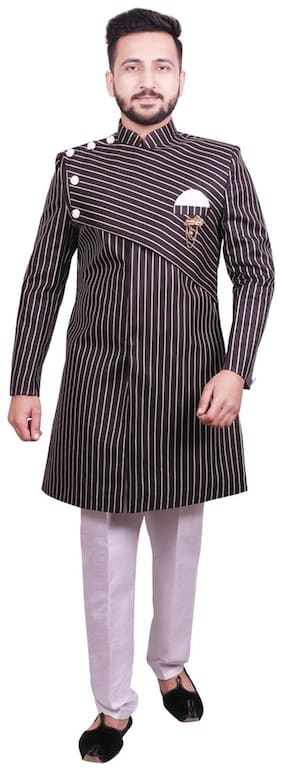 Men Striped Regular Fit Sherwani