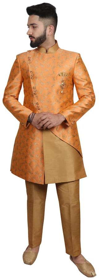 SG RAJASAHAB Blended Medium Sherwani - Orange