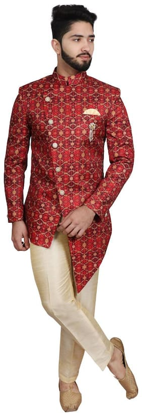 Men Printed Slim Fit Sherwani