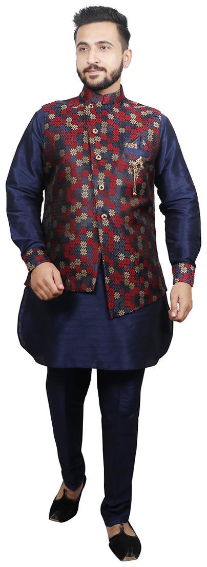 Men Dupion Kurta Pyjama With Jacket
