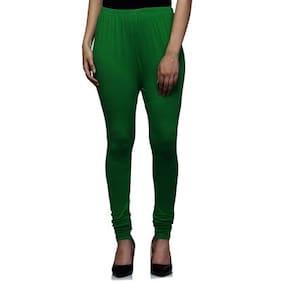 Sgatra Green Churidar Cotton Lycra Solid Leggings
