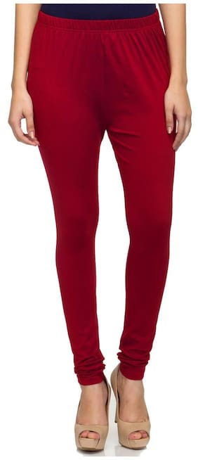 Sgatra Maroon Churidar Cotton Lycra Solid Leggings