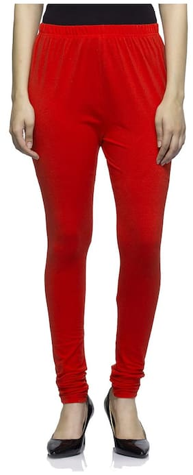 Sgatra Red Churidar Cotton Lycra Solid Leggings