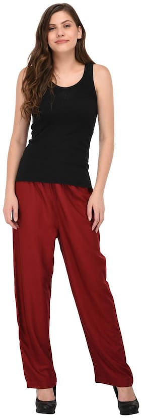 Sgatra Women Regular fit High rise Solid Bootcut pants - Maroon
