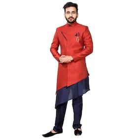 SGPartywear Stylish kurta & Churidar Pajama with stylish indo embellished Brooch single Front Pocket jakart Fabrics