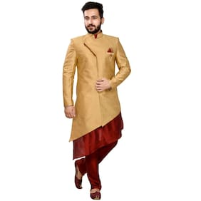 SG Men Regular Fit Silk Full Sleeves Printed Kurta Pyjama - Beige