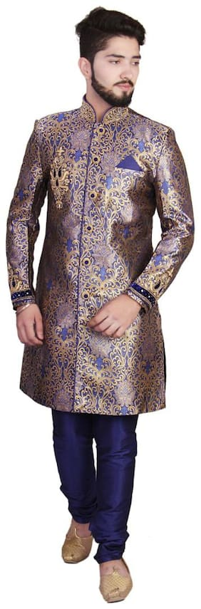 SGRAJASAHAB Partywear Men's Royal Blue Sherwani Raw Silk Fabrics