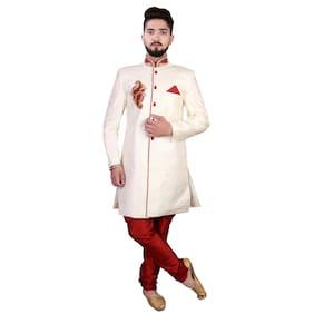 SGRAJASAHAB Partywear Men's Sherwani Raw Silk Fabrics