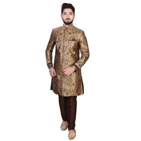 SGRAJASAHAB Partywear Men's Brown Sherwani Raw Silk Fabrics