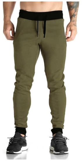 SH Sky Harboar Men Green Solid Regular fit Joggers