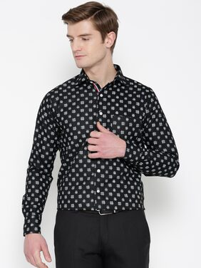 Shaftesbury London Men Slim Fit Formal Shirt - Black