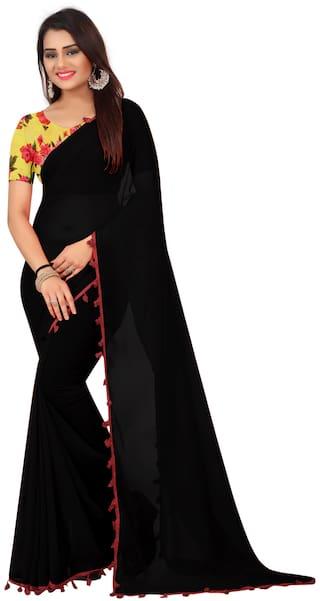 991277069c Shailaja Saree Women's Black Plain Georgette Saree With Silk Digital  Printed Blouse Piece