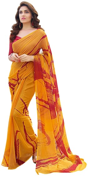 Shaily Mustard Yellow And Red Color Printed Party Wear Georgette Saree With Blouse