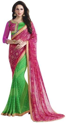Shaily Pink And Green Color Bandhani Design Border Work Georgette Designer Saree
