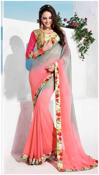 Shaily Pink And Grey Georgette Saree With Designer Blouse Piece