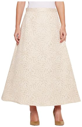 OXOLLOXO Solid A-line Skirt Maxi Skirt - White